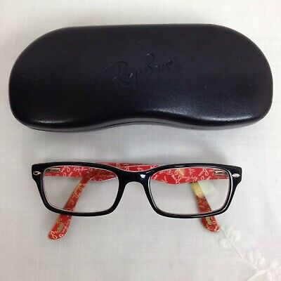 Ray-Ban Eye Glasses Frame Black Outer Red Lined With Ray-Ban Logo Frame Sz 52
