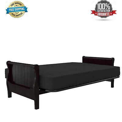 """Futon Mattress 8"""" Full Size Poly Filled Tufted Caden Black Sofa Bed Couch NEW"""