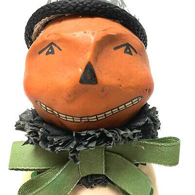 """Dee Foust for Bethany Lowe 12"""" Halloween Pumpkin Clown Black Cat Head Basket"""