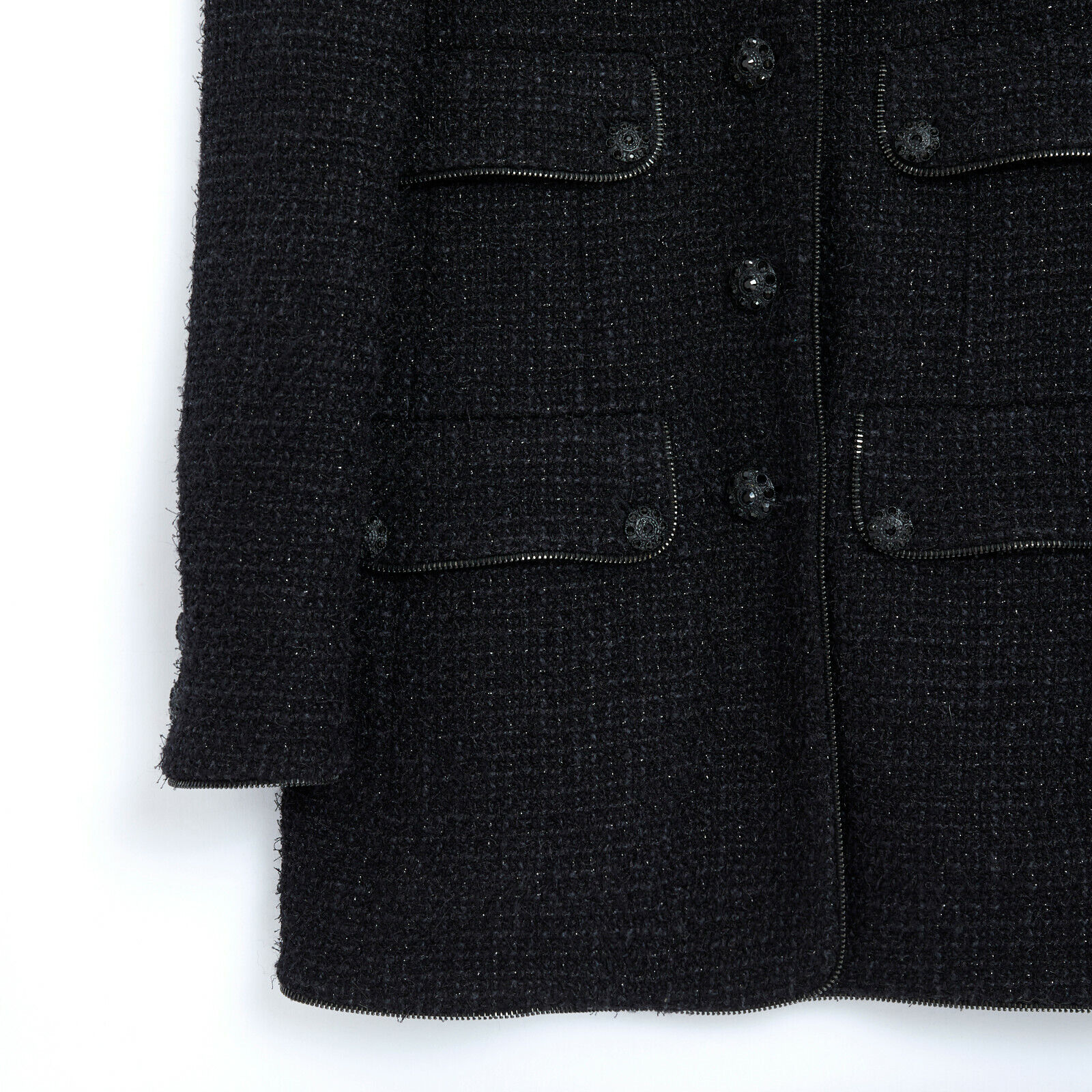 Chanel jacket tweed black long fr38