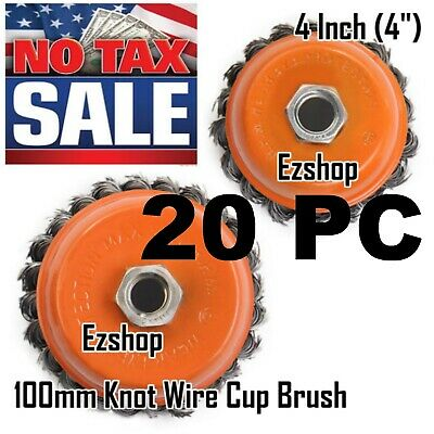 20pcs Alots - 4 Twist Wire Cup Brush 58-11nc Thread Fits Most Angle Grinders