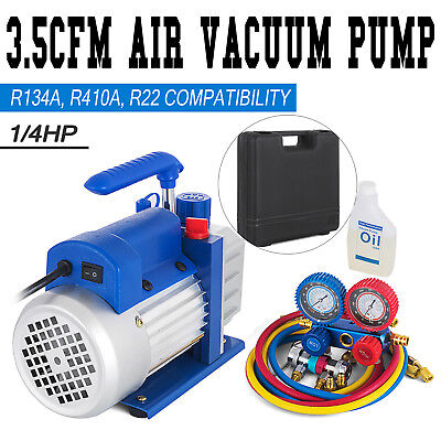 Combo 35cfm 14hp Air Vacuum Pump Hvac R134a Kit Ac Ac Dual Manifold Gauge