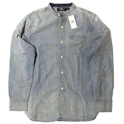 RRL Double RL Ralph Lauren Mens Patchwork Mandarin Band Collar Shirt (MSRP $265)