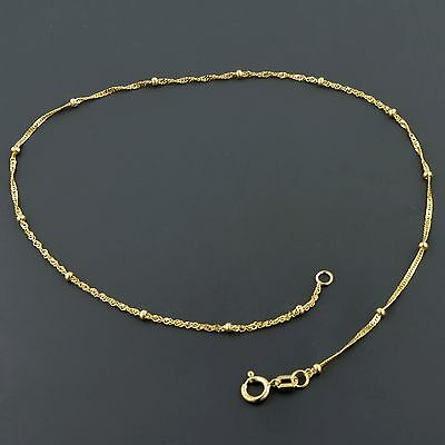 10K YELLOW GOLD 1.0MM SINGAPORE ANKLET W/1.9MM BEAD STATIONS SET EVERY INCH  Yellow Gold Singapore Anklet