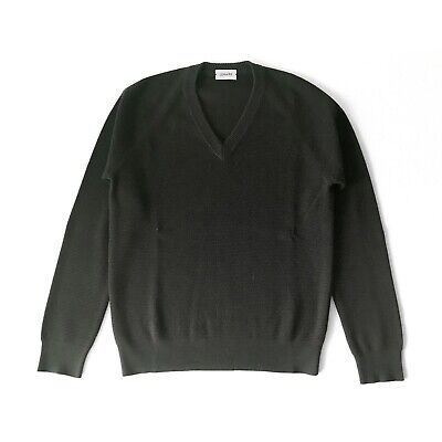 Dark Gray, V-Neck Minimalist Wool Sweater by Christophe Lemaire for Lemaire