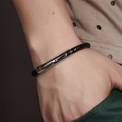 Men's Cool Braided Genuine Leather Stainless Steel Bracelet Bangle Extend Clasp