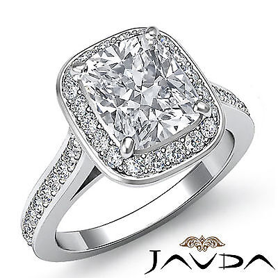 Cushion Diamond Engagement Unique Ring GIA Certified F SI1 14k White Gold 1.7 ct