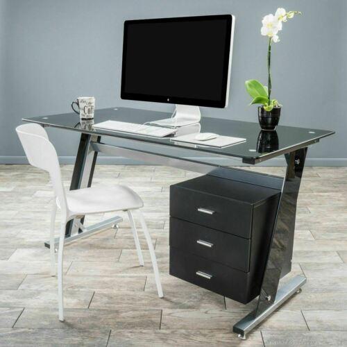 Berlin Modern Tempered Glass Computer Desk with Storage Furniture