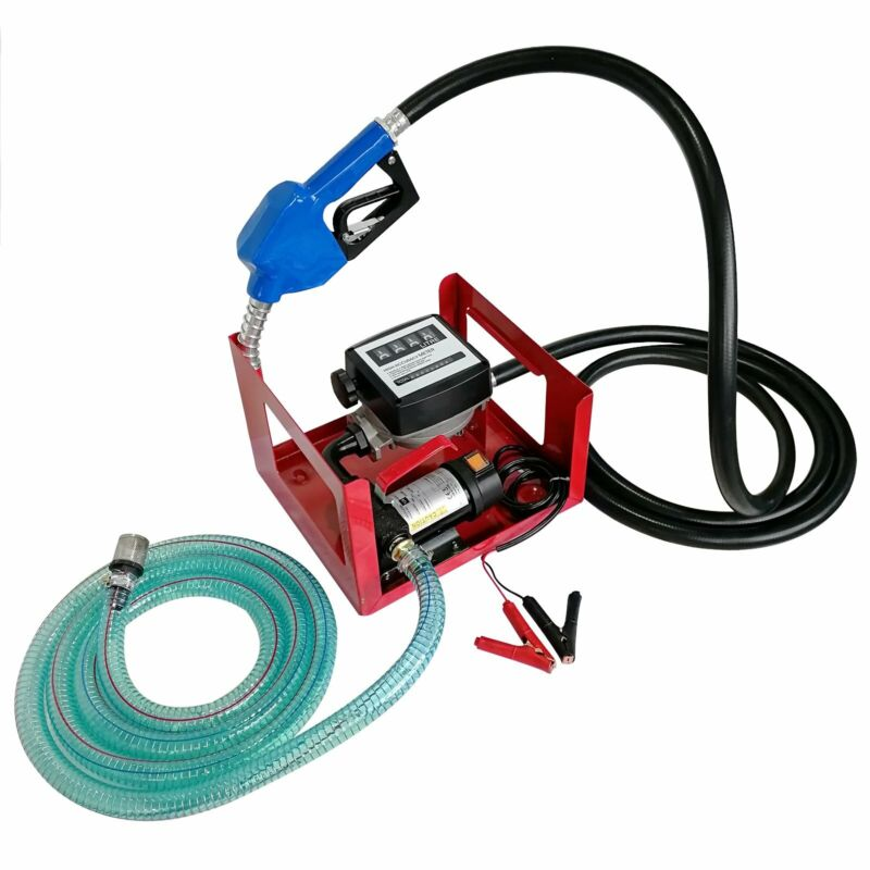 12V DC 155W Electric Fuel Transfer Pump w/ Hose Nozzle and Mechanical fuel meter