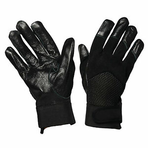 MENS-BLACK-FITTED-LEATHER-GLOVE-AIR-MESH-DRIVING-SMART