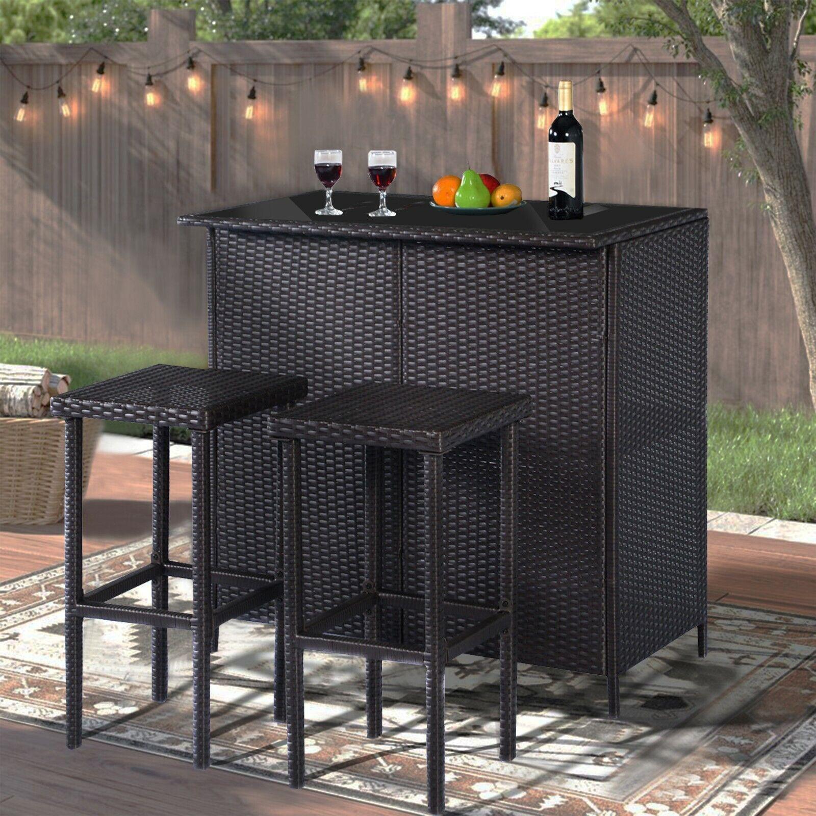 3 PCS Black Wicker Bar Set Patio Outdoor Table & 2 Stools
