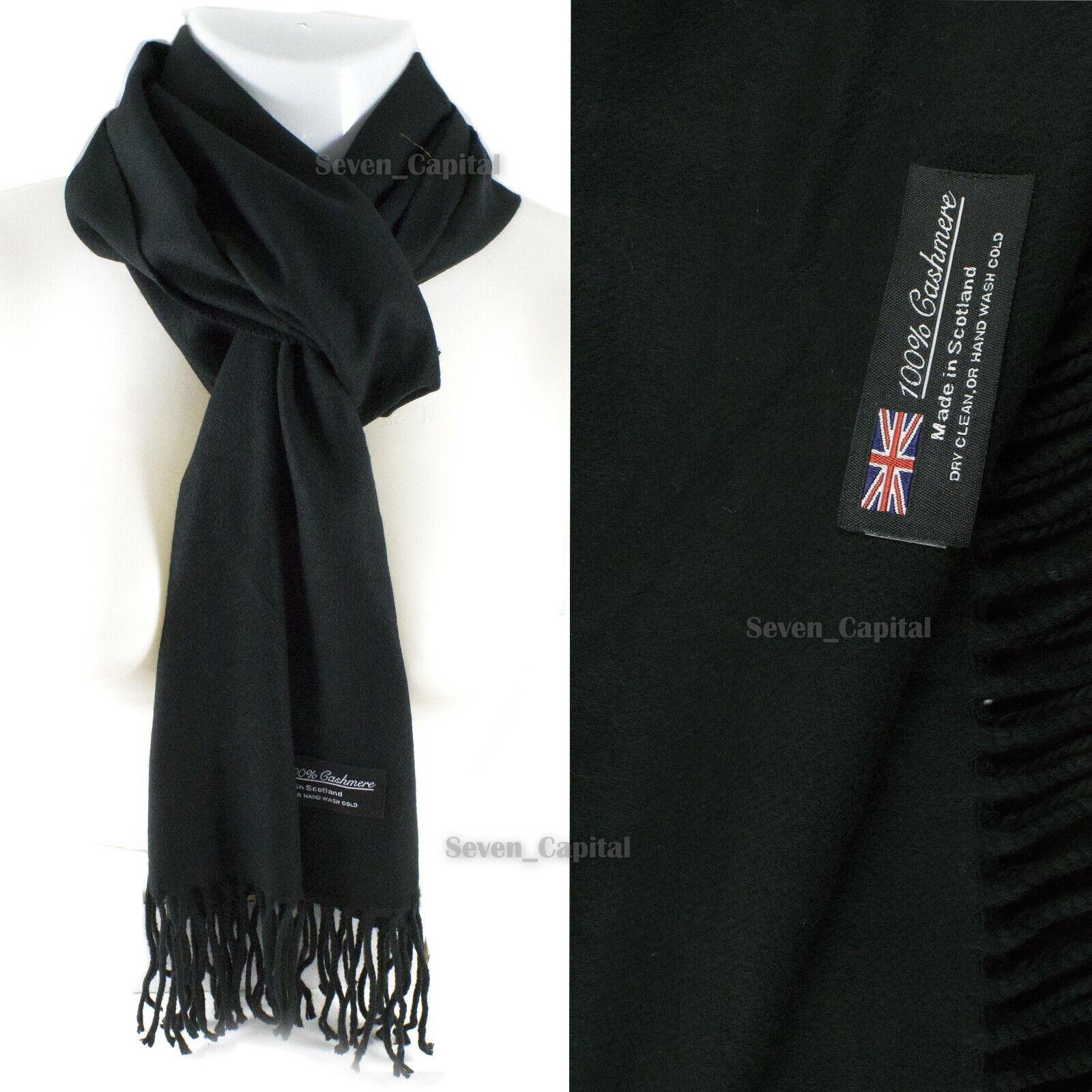 Mens Womens Winter Warm SCOTLAND Made 100% CASHMERE Scarf Scarves Plaid Wool 37. Plain: Black