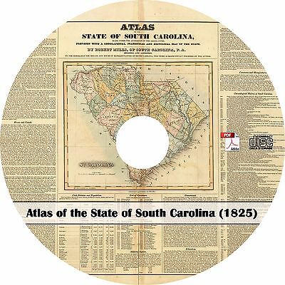 1825 Atlas of the State of South Carolina - SC History Maps Book on CD
