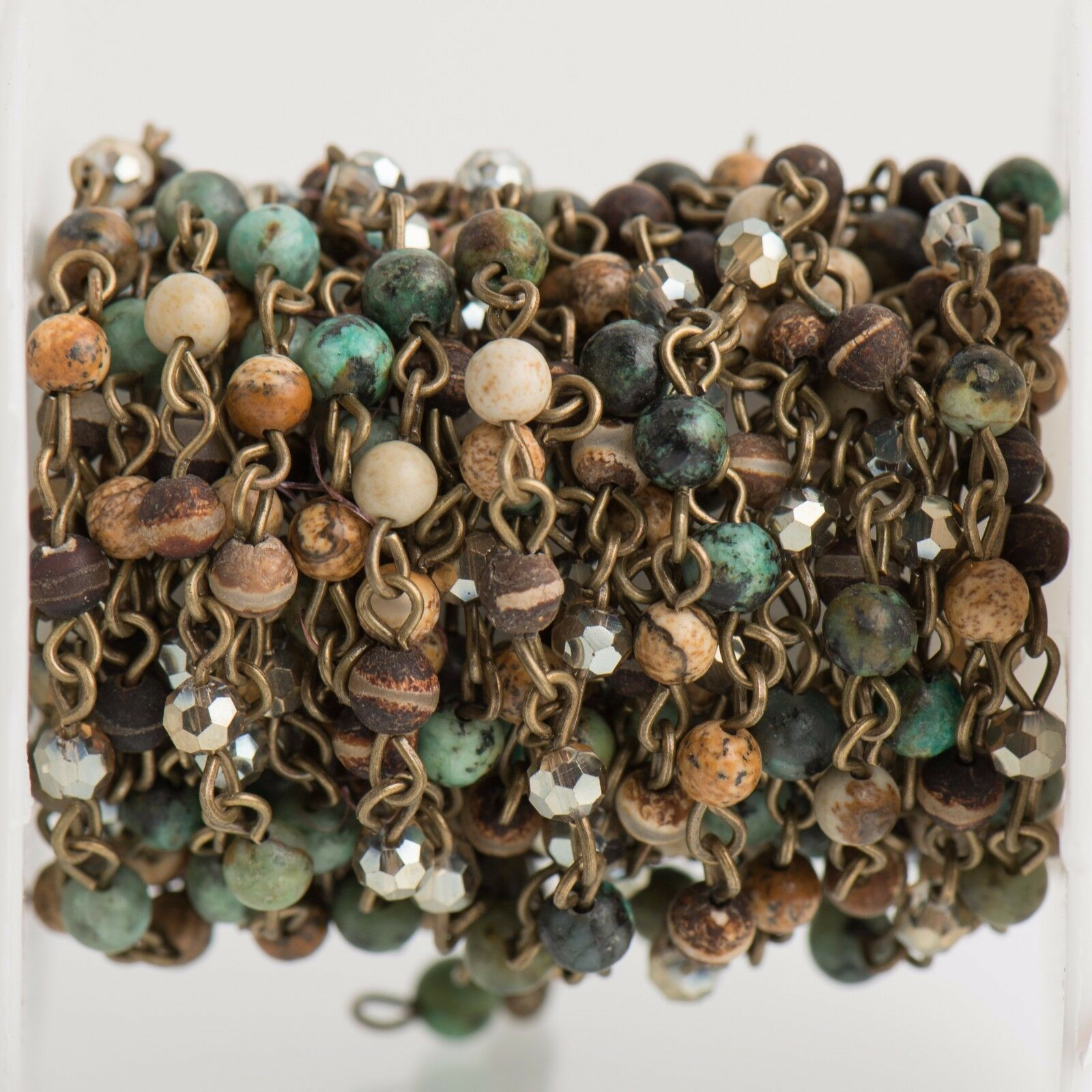 13ft Gemstone Crystal Rosary Chain Bronze 4mm Jasper Agat...
