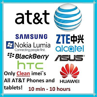 ATT CLEAN UNLOCK CODE SERVICE FOR AT&T IMEI SAMSUNG ASUS LG HUAWEI ALCATEL PHONE