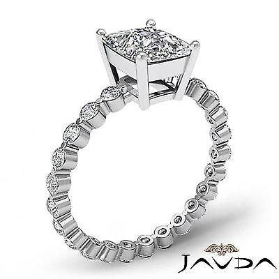 Cushion Cut Diamond Pave Vintage Engagement Ring GIA G SI1 14k White Gold 1.7 ct 1
