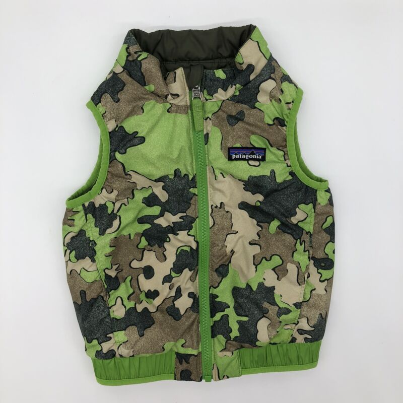 patagonia camouflage Vest Boys 2T Reversible Zip Up Green Camo Toddler