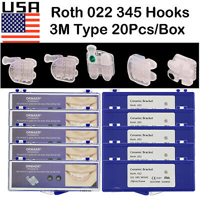 Usa 20boxes Dental Orthodontic Ceramic Bracket Roth 022 Slots 345 Hooks Fit 3m