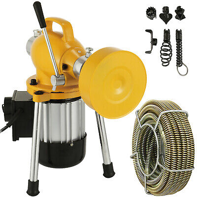 34 4 Sectional Pipe Drain Auger Cleaner Machine Snake Sewer Clog W Cutter