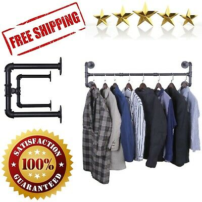 Hanging Pipe Clothes Rack Heavy Duty Detachable Wall Mounted Black Iron Garment