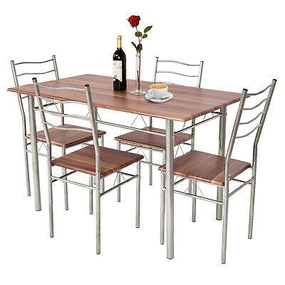 Costway 5 Pieces Dining Table Set Wood Metal Kitchen Breakfast Furniture Walnut