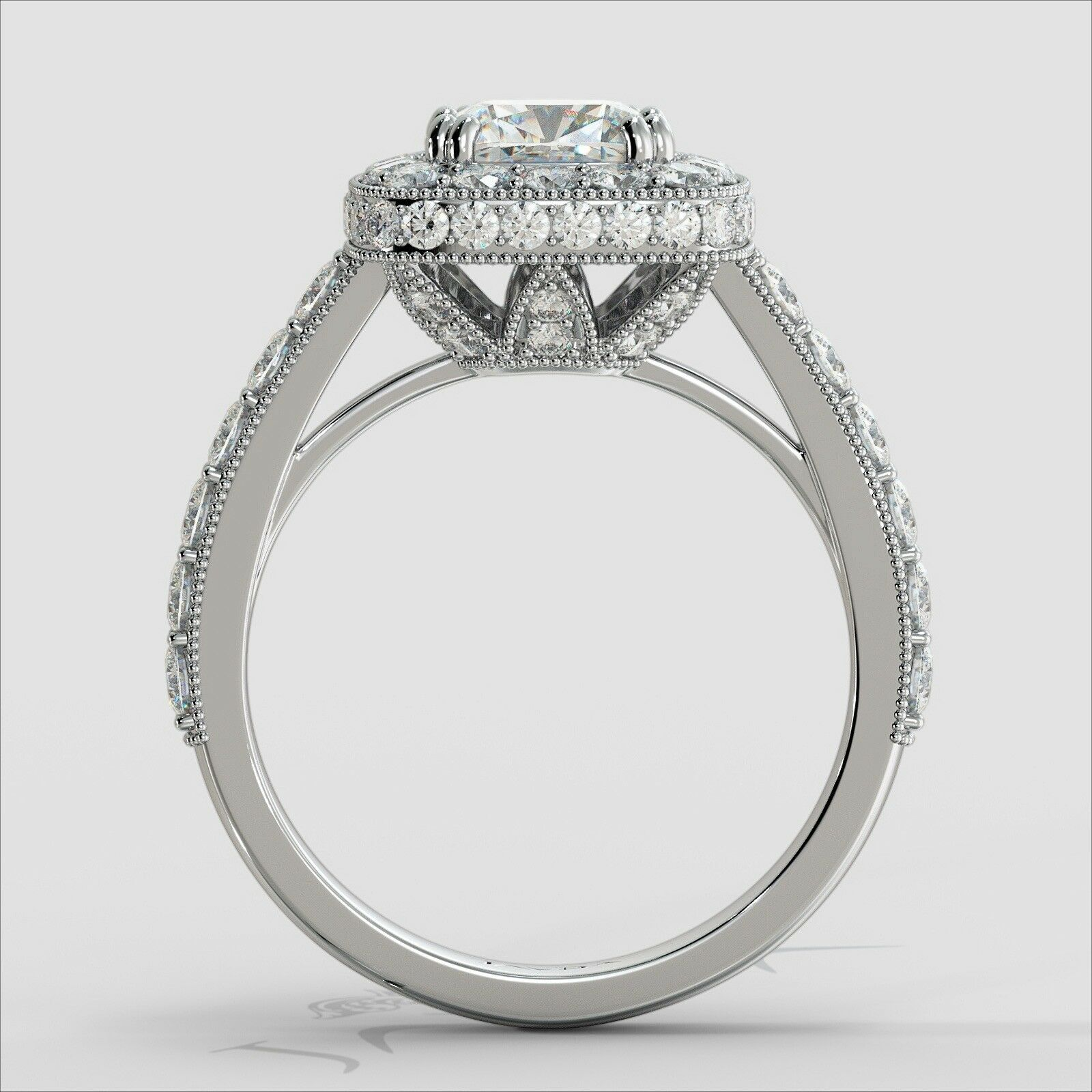 1.94ctw Milgrain Floral Basket Cushion Diamond Engagement Ring GIA E-VVS1 W Gold 3