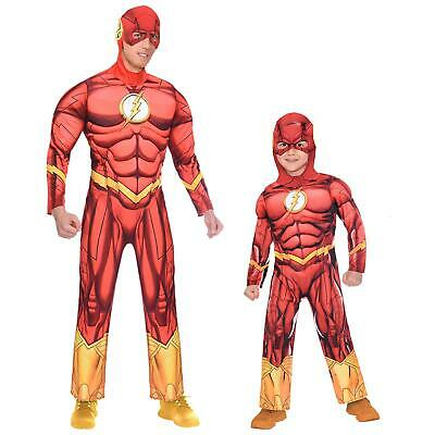 Cheap Mens Superhero Costumes (Adults Kids Official The Flash Superhero Book Day Red Fancy Dress Costume)