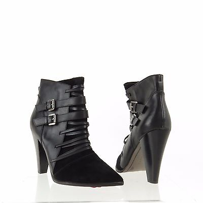 Women's Trouve Lonnie Shoes Black Leather Suede Ankle Booties Size 9 M NEW!