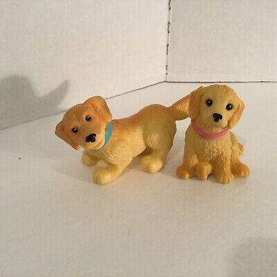 Barbie Mattel Bobbin Bow Wows Set of 2 Bobble Head Golden Retriever Puppy Dog