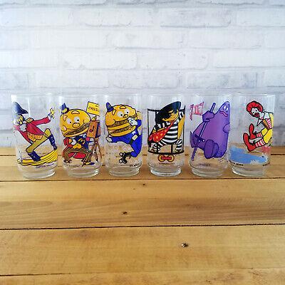 McDonalds ACTION SERIES McDonaldland Glasses FULL SET 6 Grimace Vintage 1977