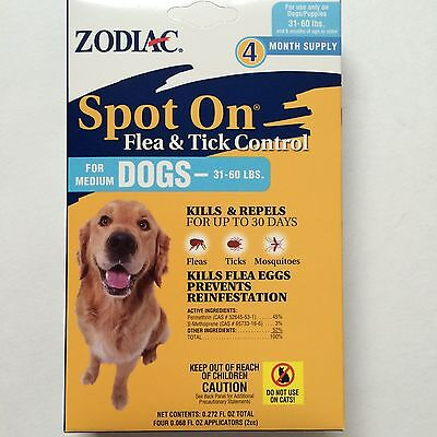 Zodiac Spot On Flea & Tick Control for Medium Dogs 31-60 lbs 4 month Supply