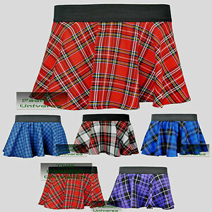 Ladies-Women-Circular-Tartan-Mini-Skirt-With-Elasticated-Waistband