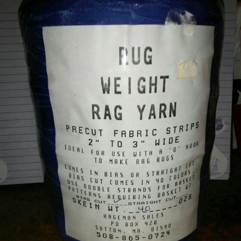 """Rug Weight Rag Yarn Precut Fabric Stripes 2""""-3"""" Bias Cut 40oz Royal"""