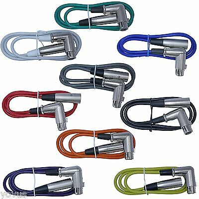 9color Right Angle 10ft foot XLR female to straight male cables patch cord snake (Patch Snake Cables)