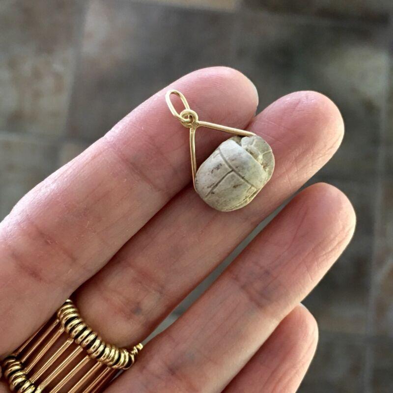 Vintage 585 14K GOLD Steatite SCARAB EGYPTIAN REVIVAL Pendant KING THUTHMOSE III