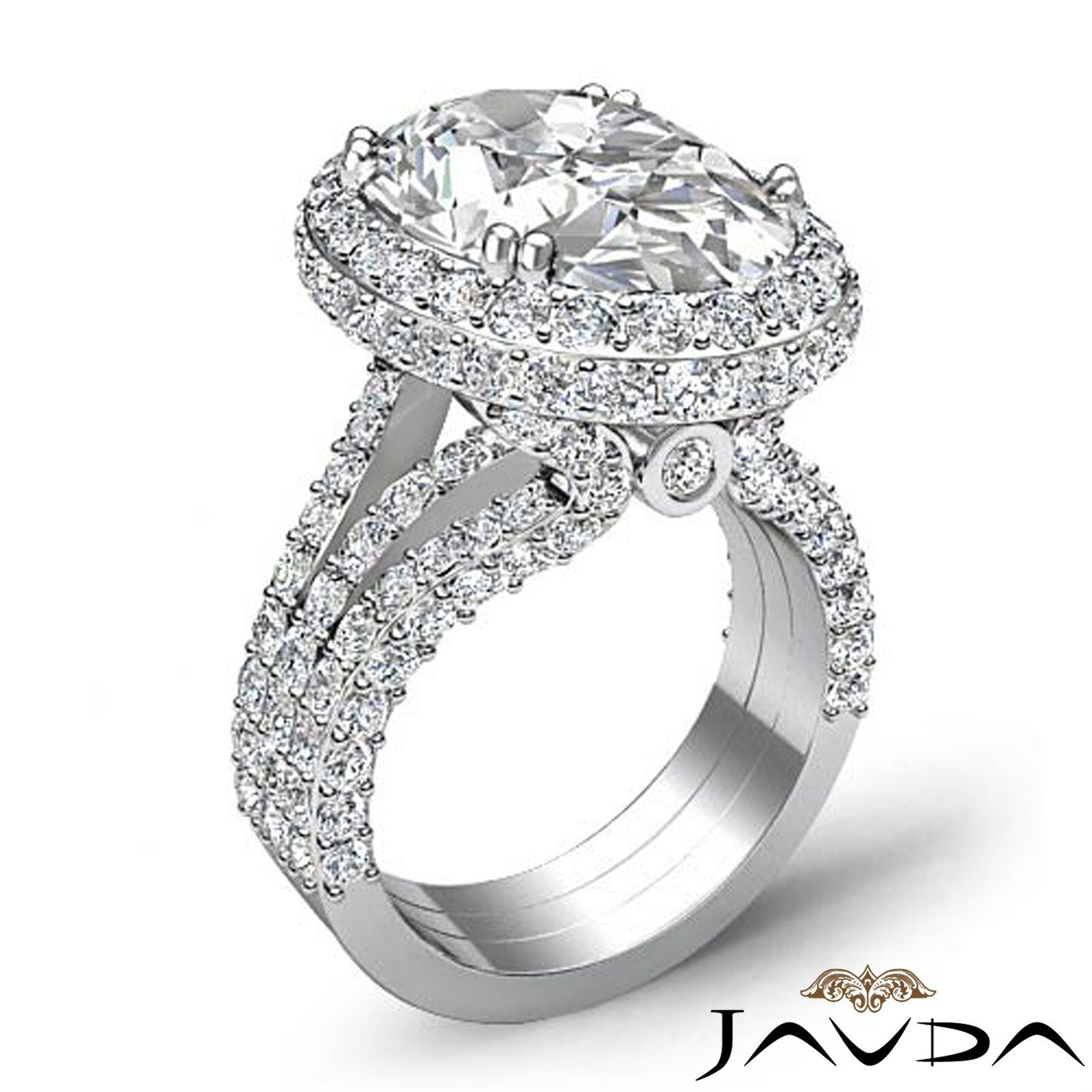 Double Prong Circa Halo Pave Bezel Oval Diamond Engagement Ring GIA F VS1 3.65Ct 1