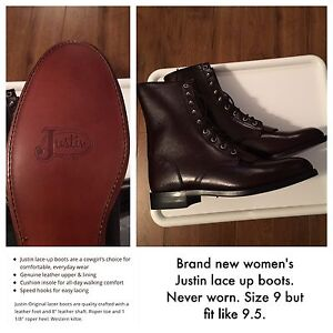 Brand new burgundy Justin Lacer Boots (9 fit like 9.5)
