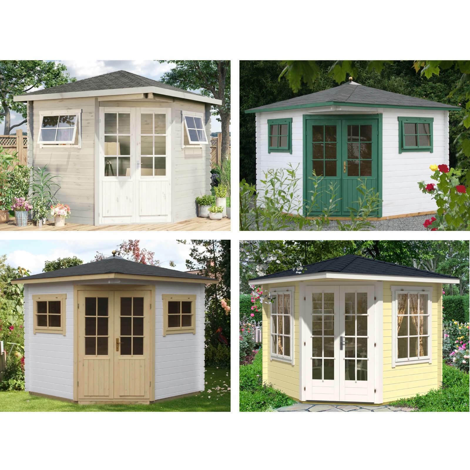 5-Eck Gartenhaus Serie Sunny Holz Spitzdach Blockhaus Gerätehaus
