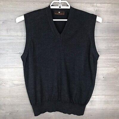 Toscano Men's Medium Pullover Sweater Vest 100% Merino Wool V-Neck Gray Italy