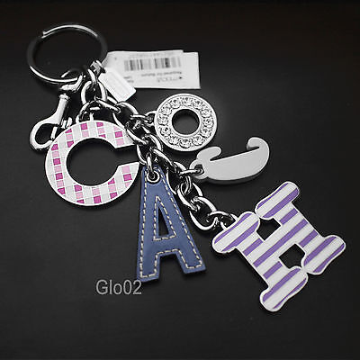 "NWT Coach 9"" Monogram Lettering PAVE CRYSTAL XL Mix Charm Keychain Key Ring FOB"
