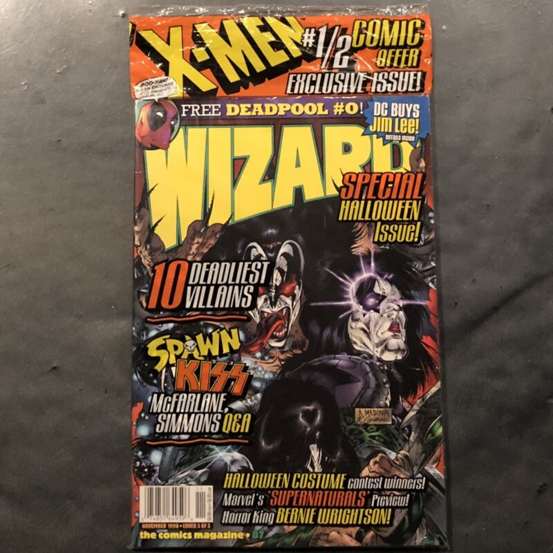 WIZARD COMIC BOOK MAGAZINE ISSUE 87 KISS COVER DEADPOOL #0 BRAND NEW SEALED HTF