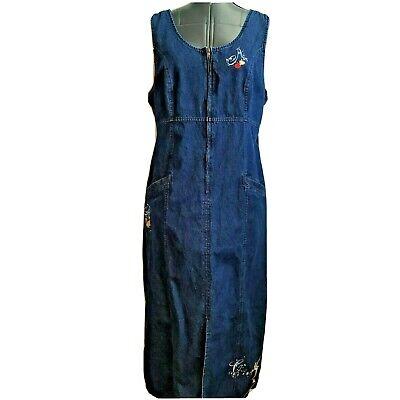 Disney Store Denim Jumper dress Below Knee Size L Large Blue Jean Tinkerbell Zip Blue Jean Jumper