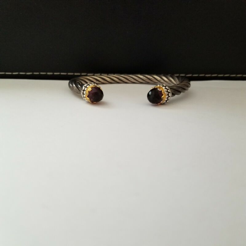 SU CH Cable Twist Rope Sterling Silver Cuff Bracelet 925 Red Stone Ends