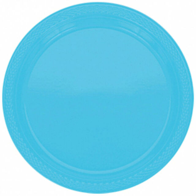 "20 Caribbean Blue 9"" Large Round PLASTIC Party Wedding Plates"