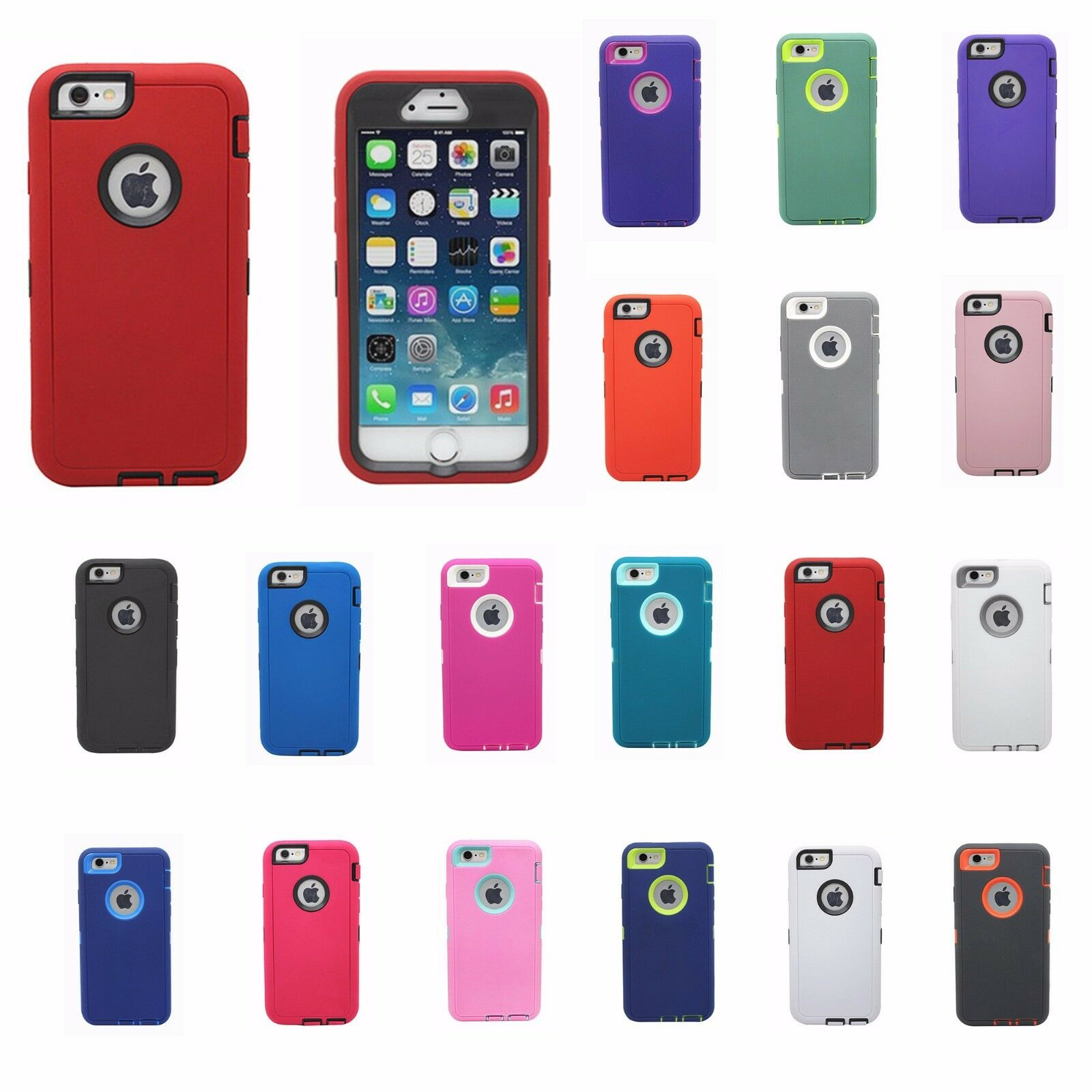 New Heavy Duty Hybrid Shock Proof Defender Rugged Case For iphone 6 Plus 5.5""
