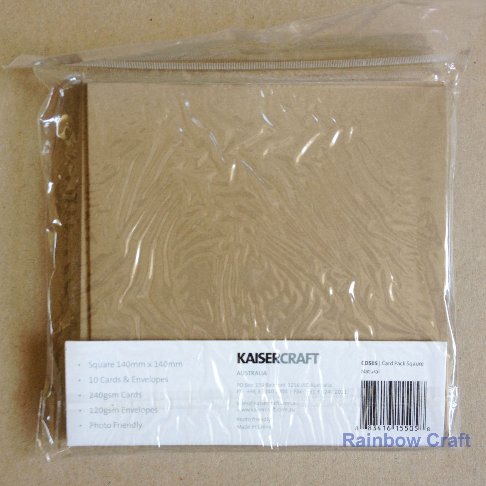 Kaisercraft 10 blank Cards & Envelopes Square / C6 size (12 selections) - Nature