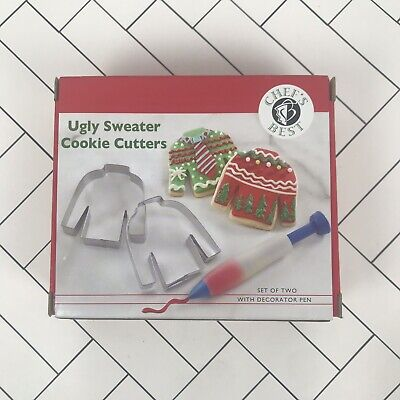 Christmas & Holiday Ugly Sweater Cookie Cutter Set - Metal With Decorating Pen ()