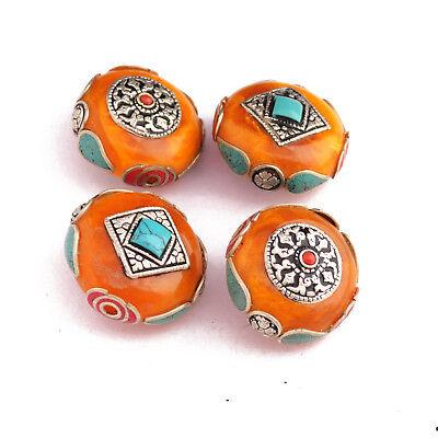 Turquoise Coral 4 Beads Tibetan Nepalese Handmade Tibet Nepal By Eksha UB2539