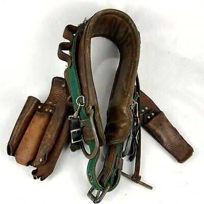 Vintage Buckingham Telephone Linemans Pole Climber Safety Belt Strap Pouch Sz22