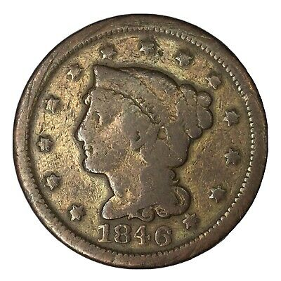 1846 1C Braided Hair Large Cent Small Date VG Details Uncertified #